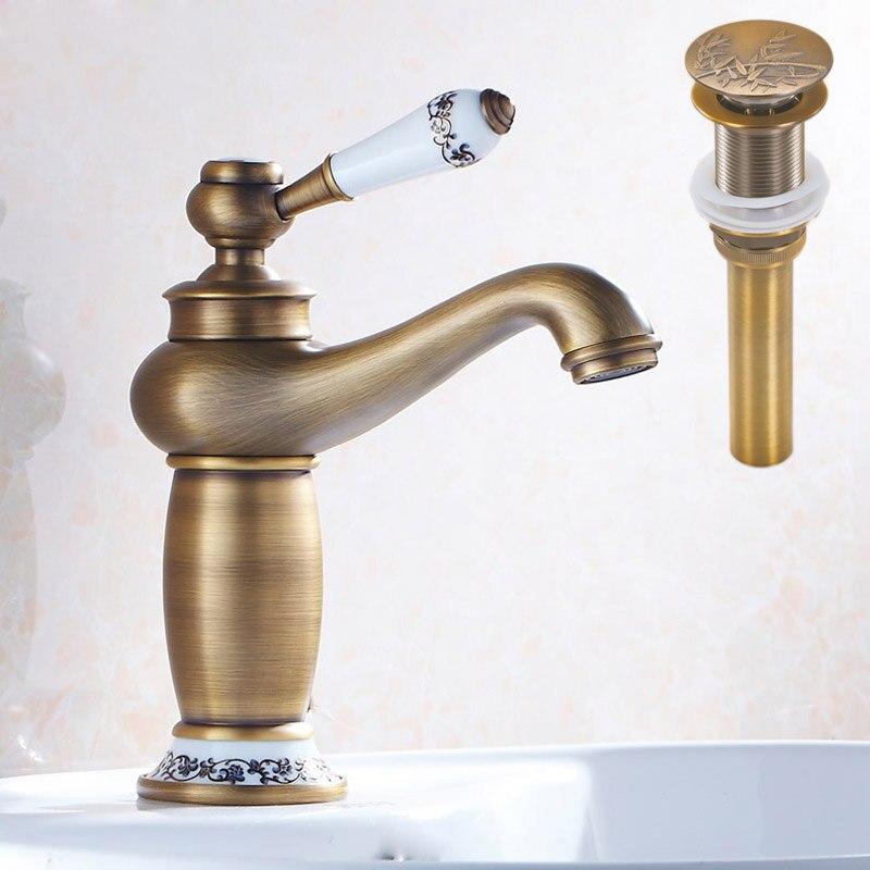 Antiue Ceramic Basin Mixer Taps Brass Single Handle Vintage Bathroom ...