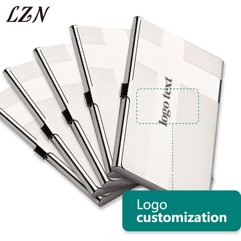 LZN Popular Men Stainless Steel Aluminium Business ID Name Credit Card Holder Case Free Customlized Logo/Text As Promotion Gifts