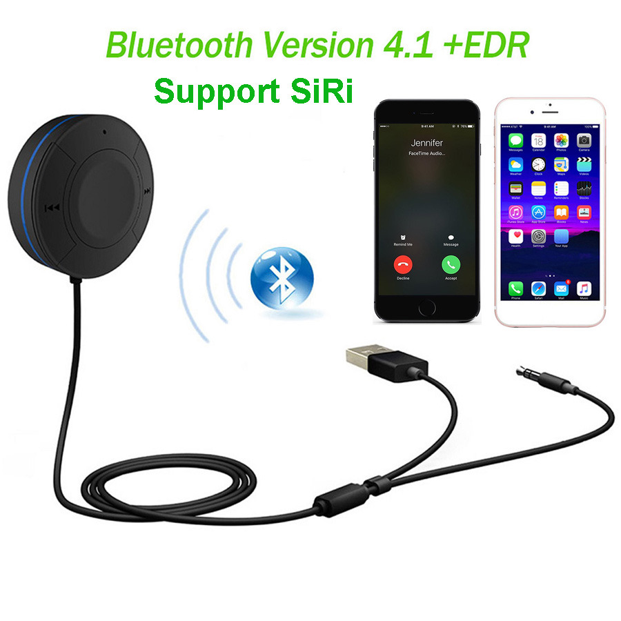 af7aeb0e0080 цены Handsfree Bluetooth Car Kit Bluetooth 4.1 Receiver Aux 3.5mm Audio  Output Wireless A2DP Music