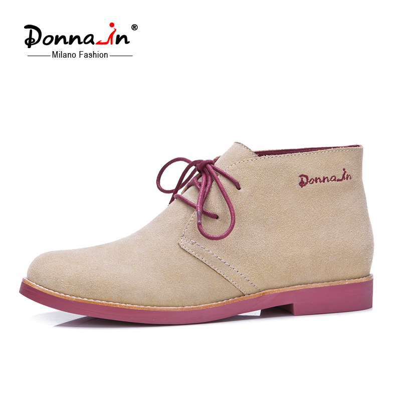 Donna-in Ankle Boots for Women Genuine Leather Casual Shoes Booties Woman 2018 Lace up Plus Size Flat Brand Martin Boots Ladies 2017 brand new women short designer boots flat dress shoes woman gladiator big size cool rain booties outwear casual shoes