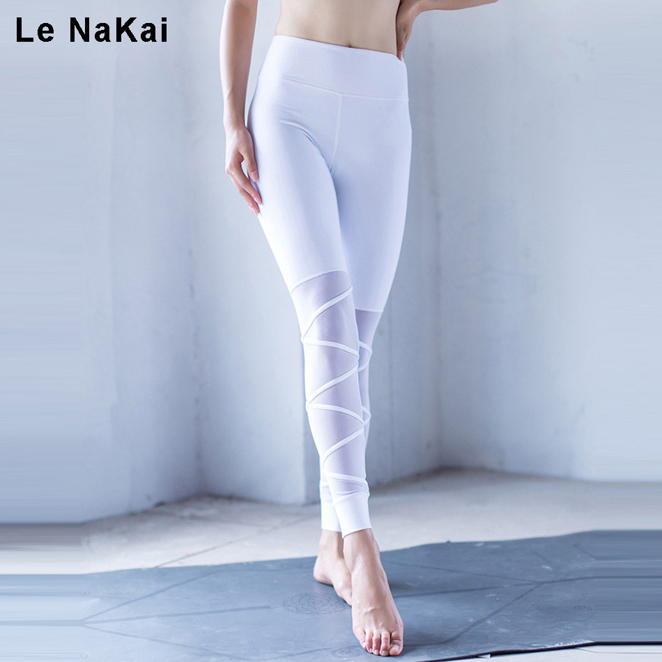 Le NaKai Mesh Patchwork Cross Yoga Pants Women Thick Solid Fitness Sport Leggings High Stretchy Running Tights Gym Trousers