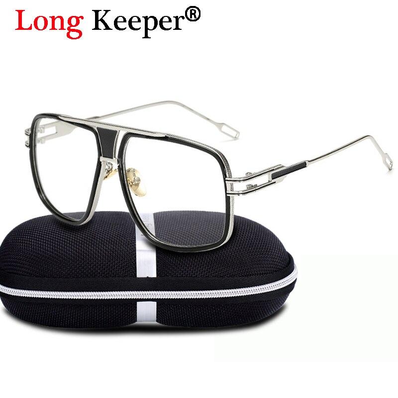 b712de5caf5 Long Keeper Mens Steampunk Eyeglasses For Women Big Square Glasses Frame  Computer Clear Lens Optical Gafas de grau With Box-in Eyewear Frames from  Apparel ...