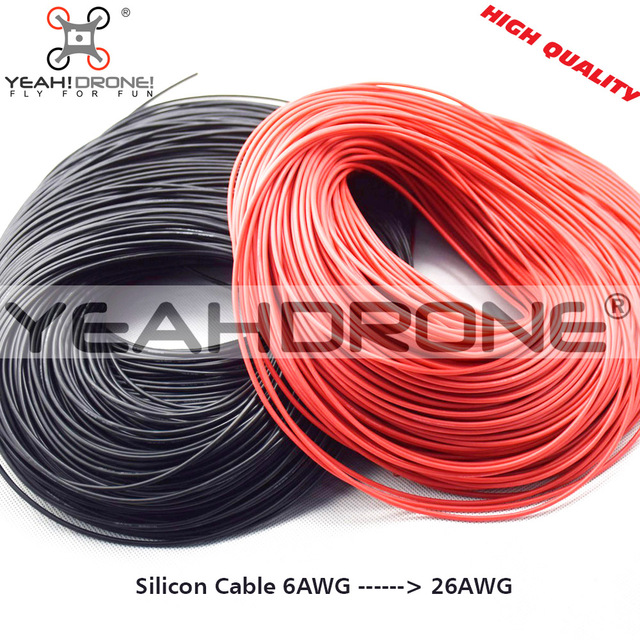 Silikonkabel 1 mt Rot + 1 mt Schwarz Silicon Draht 6AWG 7AWG 10AWG ...