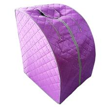 Far Infrared Sauna One Person at Home Portable Full Body SPA Tent with Heating Foot Pad and Chair - Purple