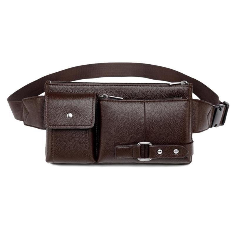 Vintage Solid Color Shoulder Waist Fanny Belt Packs Business Casual Men Crossbody Chest Bags PU Leather Phone Pouch