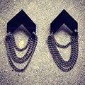 Elegant Fashion Hoping Up Statement Earrings Acrylic Earrings Retro Women Long Chain Drop Earrings Black Chain Tassel Earrings
