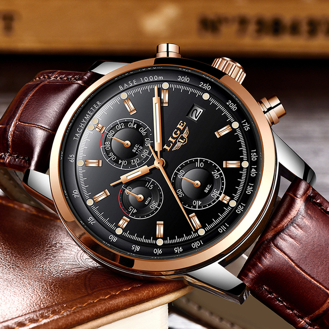 Mens Watches Top Brand Luxury Leather Quartz Watch Men Military Sport waterproof Gold Watch 4