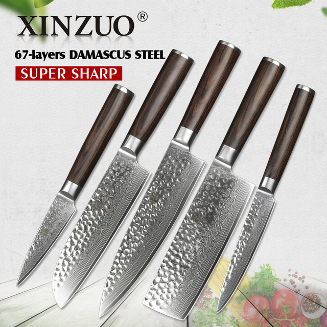 XINZUO 4 Pcs Kitchen Knife Sets China 67 Layers High Carbon Damascus Stainless Steel Chef Utility