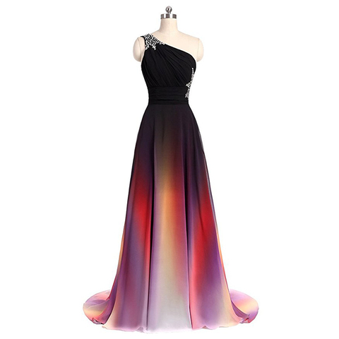 Hot Sale 2019 Long Evening Dresses One Shoulder Gradient Black Red Chiffon Prom Dress Cheap In Stock Real Photos Vestido Longo Pakistan