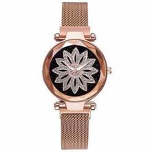 Luksusowe złota róża kobiety Mesh magnes klamra zegarki Hot moda kwiaty eleganckie zegarki damskie kobiet magnetyczne zegarek zegar tanie tanio QUARTZ Ze stali nierdzewnej Brak Nie wodoodporne Moda casual Odporny na wstrząsy ZKK254 Nie pakiet Hardlex Okrągły