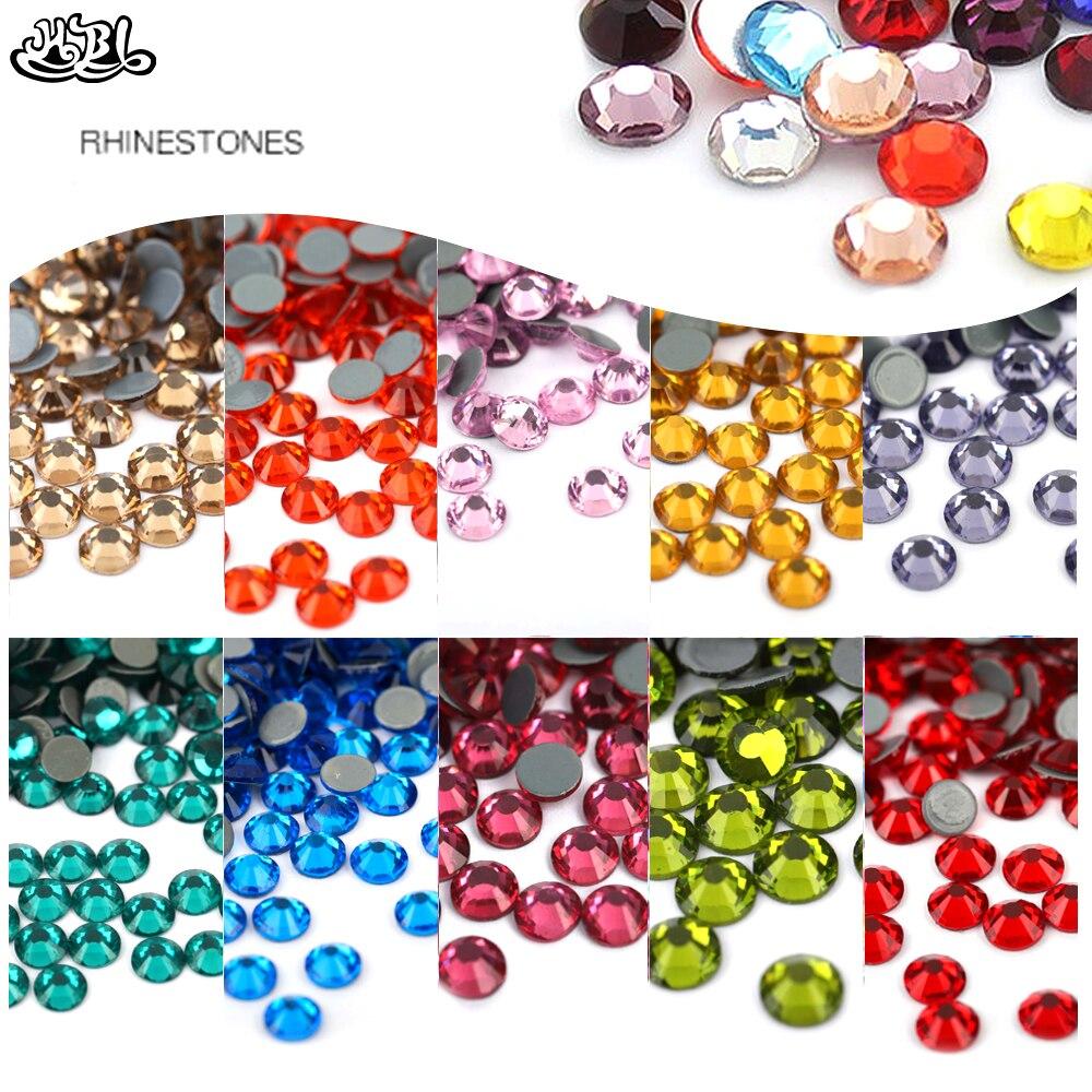 Hohe qualität SS6 SS8 SS10 Alle Größen AB/klar/leomon Multi Farben AUS Hot fix Strass Glitter Strass flatback Glas Kristall