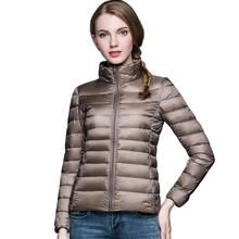 Женское зимнее пальто, новинка, ультра-светильник, 90% белый утиный пух, куртка для девушек, тонкая пуховая куртка, женское портативное ветрозащитное пуховое пальто для женщин
