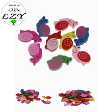 20PCS Cute Snail Pattern Beads Multicolor Insect Series Wood DIY Childrens Toys Jewelry Essential Accessories 20mm
