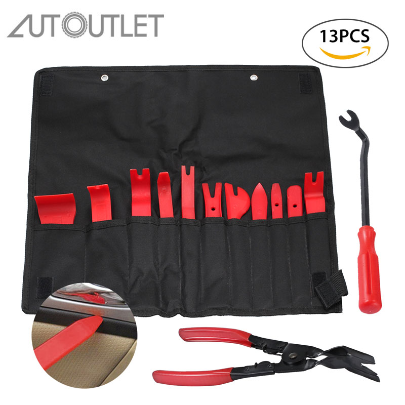 Proster 13 Pcs for Auto Trim Panel Removal Tool Set Fastener Clips Removers Strong Nylon Door Panel Tool Kit
