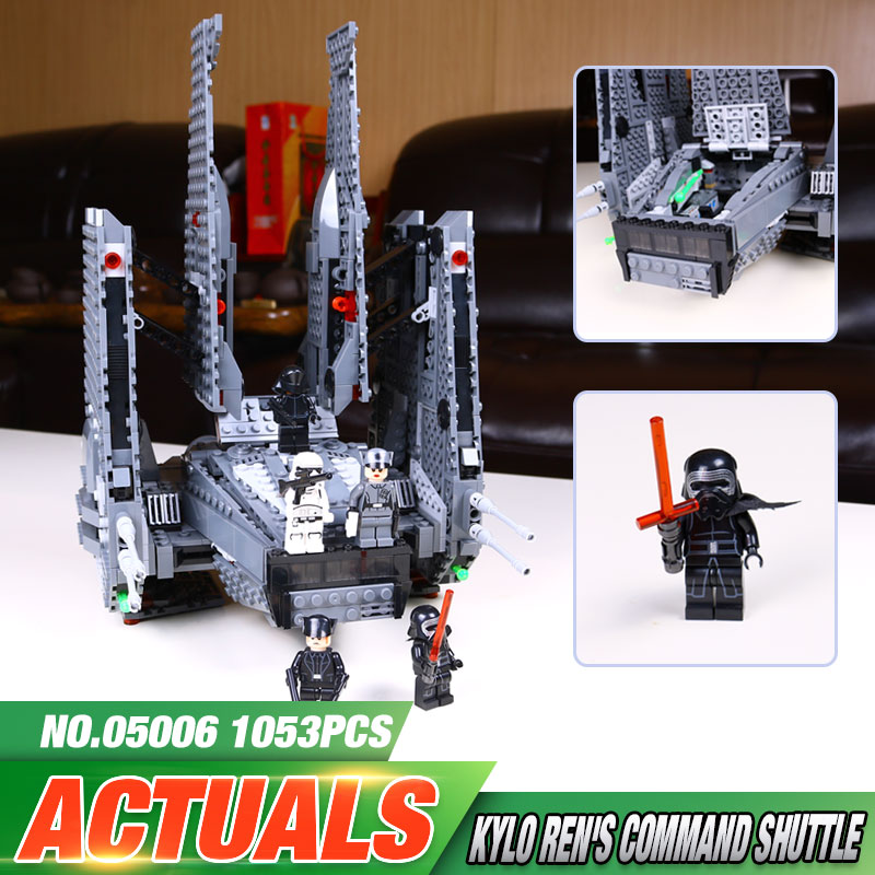 ФОТО LEPIN 05006 Hot Sale 1053pcs Star Wars Kylo Ren Command Shuttle 75104 Blocks Kid's Toys compatible Toys