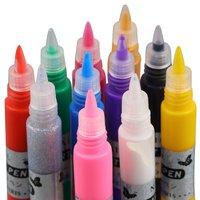 2pcs 3D Nail Art Polish Painted Pen Liner Painting Pen Carved Pen Kit Set 12 color