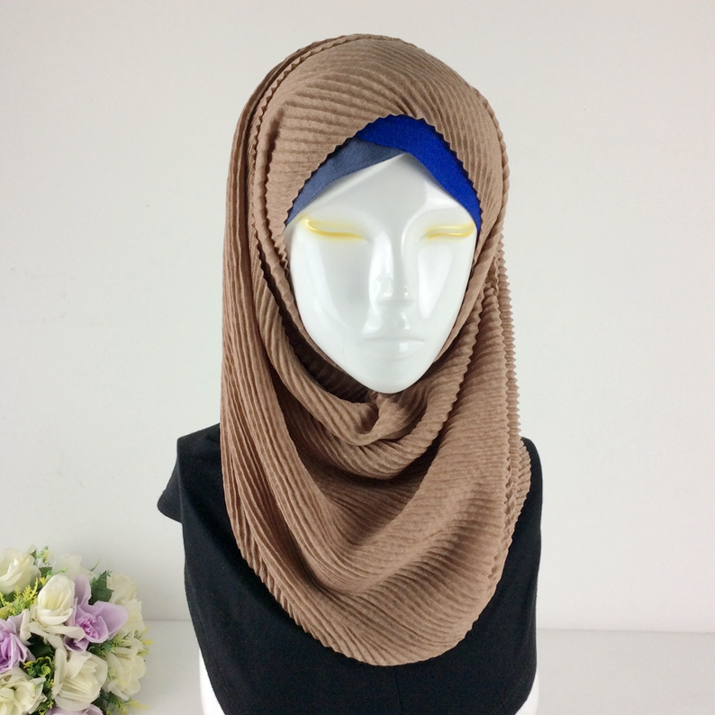 Crinkle High Quality Cotton Plain Viscose Scarf Ripples Wrinkle Cape Shawls And Scarves Muslim Hijab Wraps Women Scarves 2017