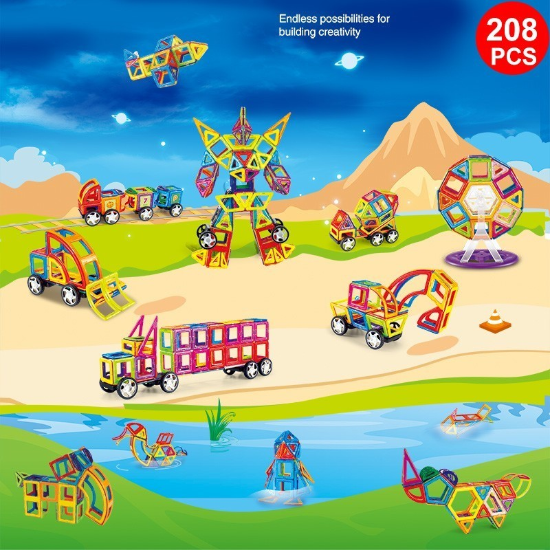208PCS Magnetic Building Blocks Educational Magnet Toys Building Designer Construction Toy Set For Kids Children Gift