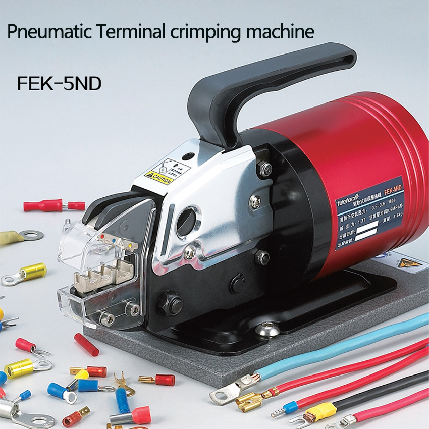 1pc Pneumatic crimping pliers Semi-automatic Pressing line clamp Terminal crimping machine Giving air pressure regulator цена