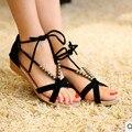 2017 Cuñas de Plataforma Sandalias de Las Mujeres del Verano Nuevas Cuentas Estilo Gladiador de La Vendimia Zapatos de Mujer Beach Flip Flops Sandalia Romana