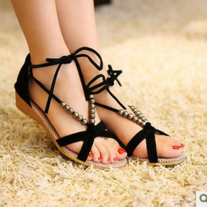 2017 Women Sandals Summer New Beaded Vintage Style Gladiator Platform Wedges Shoes Woman Beach Flip Flops Roman Sandal casual wedges sandals 2017 summer beach women shoes platform flip flops print sandal comfort creepers shoes woman