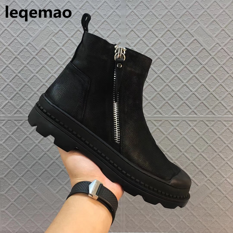 Winter Martin boots Warm Fur Inside New Men Basic High-Top Nuduck Genuine Leather Luxury Trainers Snow Boots Black Flat Shoes 44