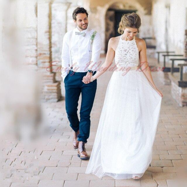 encaje elegante una línea de vestido de novia de cuello halter y