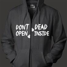 Free shipping walking dead don't open dead inside men women unisex zip up hoodie hooded sweatshirt organic cotton fleece inside