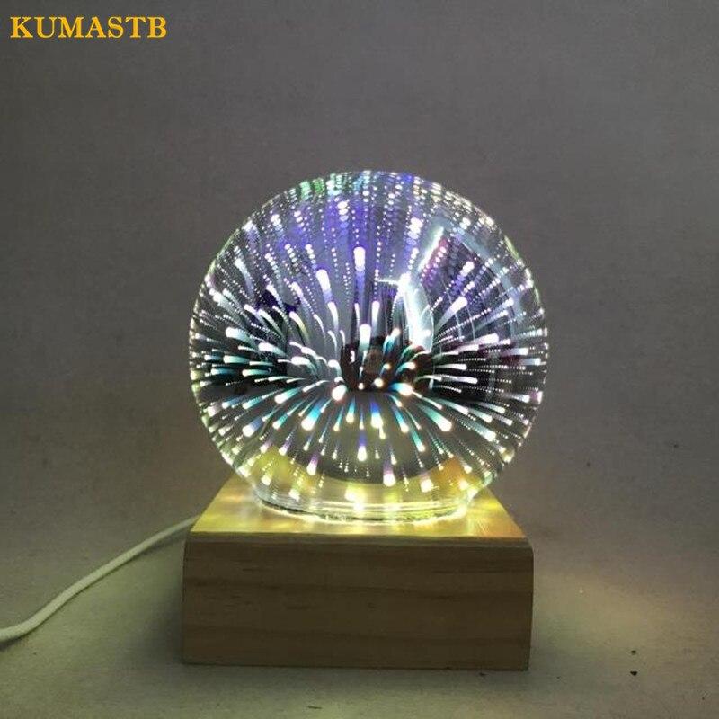 Творческий 3D Магический кристалл Стекло лампы древесины База украшения Luminaria атмосфера прикроватные Lamparas USB Дети ночь светодиодная kumastb ...