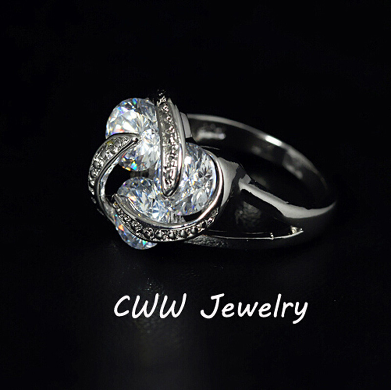 CWWZircons Trendy Design White Gold Color Revolving Shape Cubic Zirconia Big Carat Engagement Rings For Women 2017 R078