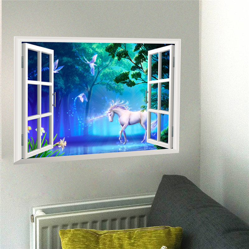 3d Effect Window Unicorn Horse Wall Stickers For Kids Rooms Living Room Bedroom Wall Decal Art