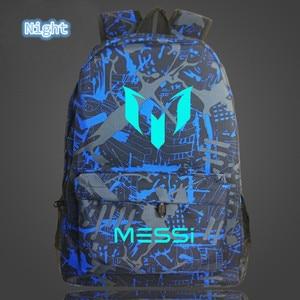 Image 3 - 2018 School Shoulders Soccer Bags Messi Backpack Logo Printing Luminous Backpacks For Children Kids Travel Mochila