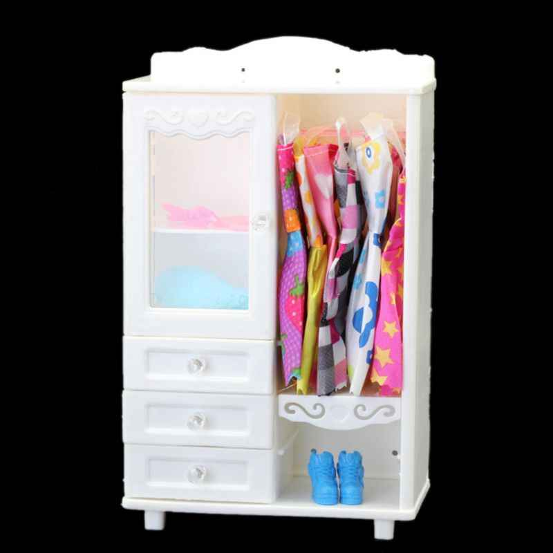 New Luxury White Wardrobe Closet For Barbie Doll Accessories Furniture Girls Gift