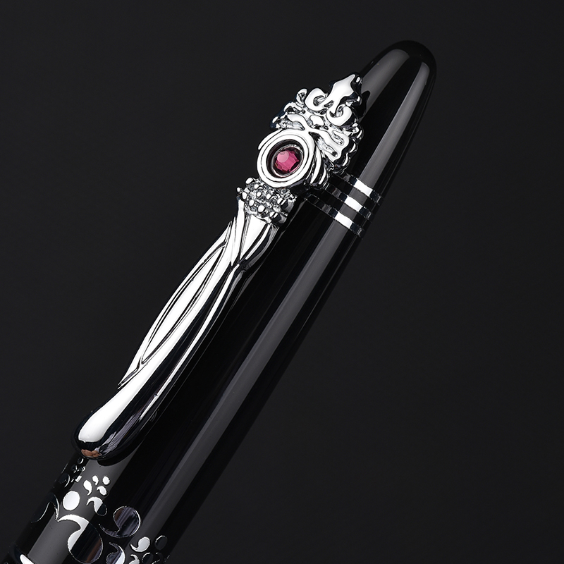 Image 3 - Unique Silver Clip with Gem Picasso Pimio Black Fountain Pen High end Business Christmas Gift 0.5mm Ink Pens with Gift Box-in Fountain Pens from Office & School Supplies