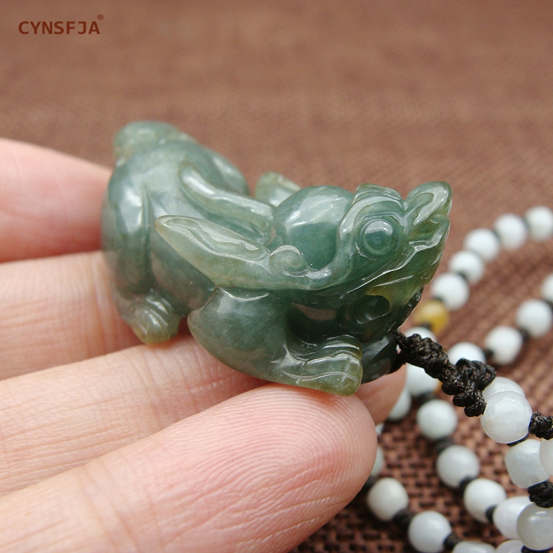 Myanmar Emerald Charms Necklaces Pendants Pixiu Jade Pendant Certified Natural A Grade Burmese Jadeite High Quality Hand Carved