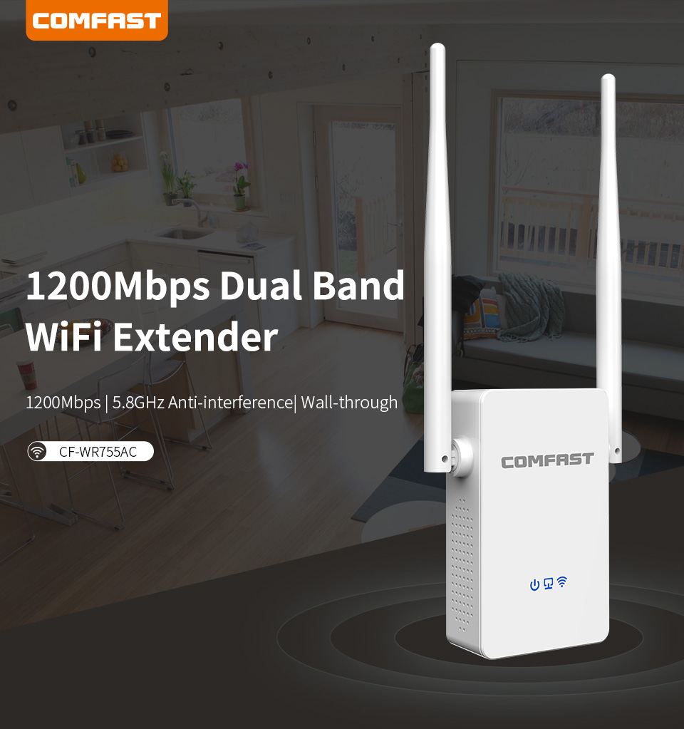 COMFAST High Power 1200Mbps Wireless WI-Fi Repeater /Router/Access Point  dual band 2.4GHz+5.8GHz wifi Signal booster CF-WR755AC(China)