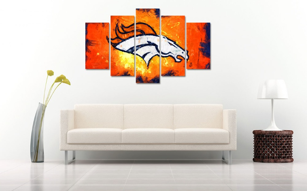5 panel HD printed canvas painting sport denver broncos canvas print ...