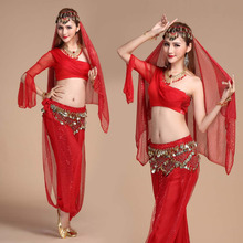2017 New Sexy Belly Dance Costume Set  5 PCS(Top+Pant+Waist Chain+veil+Bracelet pair) Bollywood/Indian Dance Costumes Dancewear