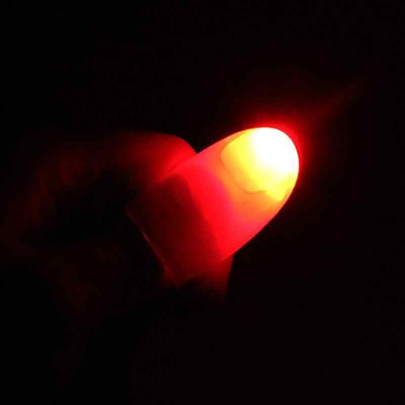 Litake 1 Paar Creatieve Magic Thumb Tip LED Licht Goocheltruc Vinger Lichten voor Dance Party Props-Blauw/ groen/Rood Licht