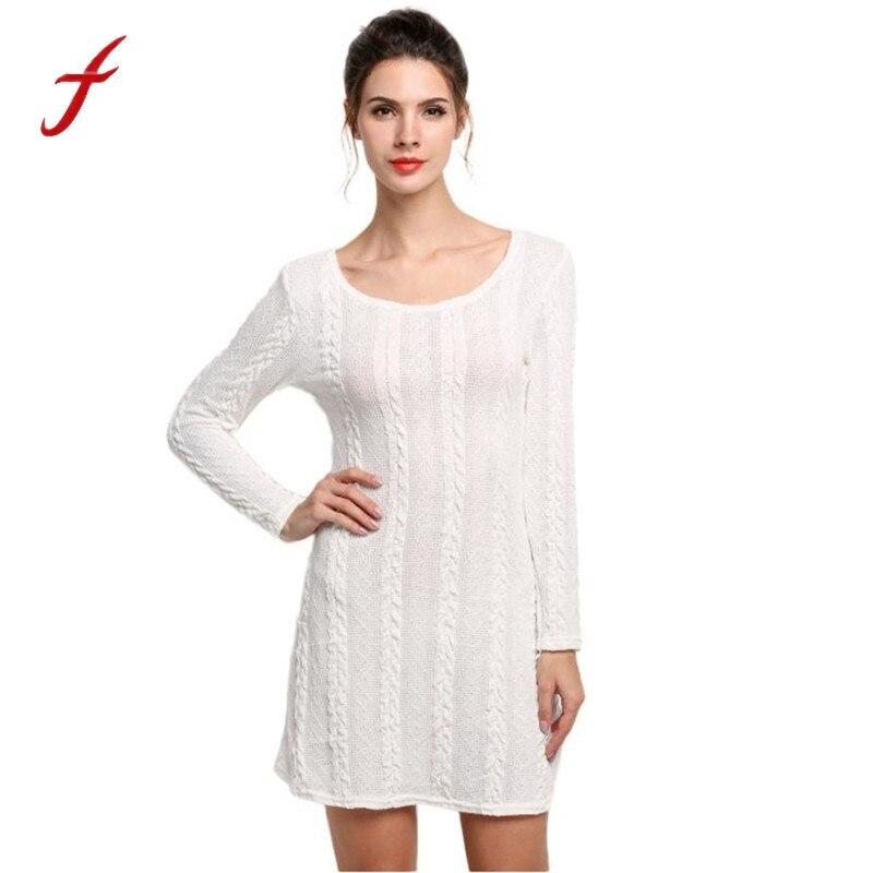 Women Dress Oversized Casual Ladies Long Sleeve Crewneck Jumper Slim Casual Knitted Sweater Mini Dress Women vestidos playa alfani new black long sleeve crewneck sweater m $49 5 dbfl