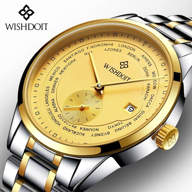 WISHDOIT Top Brand Men Golden AUTO Date automatic Mechanical font b Watch b font Fashion Pilot