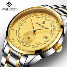 f2ded6e6eb4 WISHDOIT Marca de Topo Homens Relógio de Ouro Data AUTO Relógio Mecânico  Automático Moda Piloto Militar