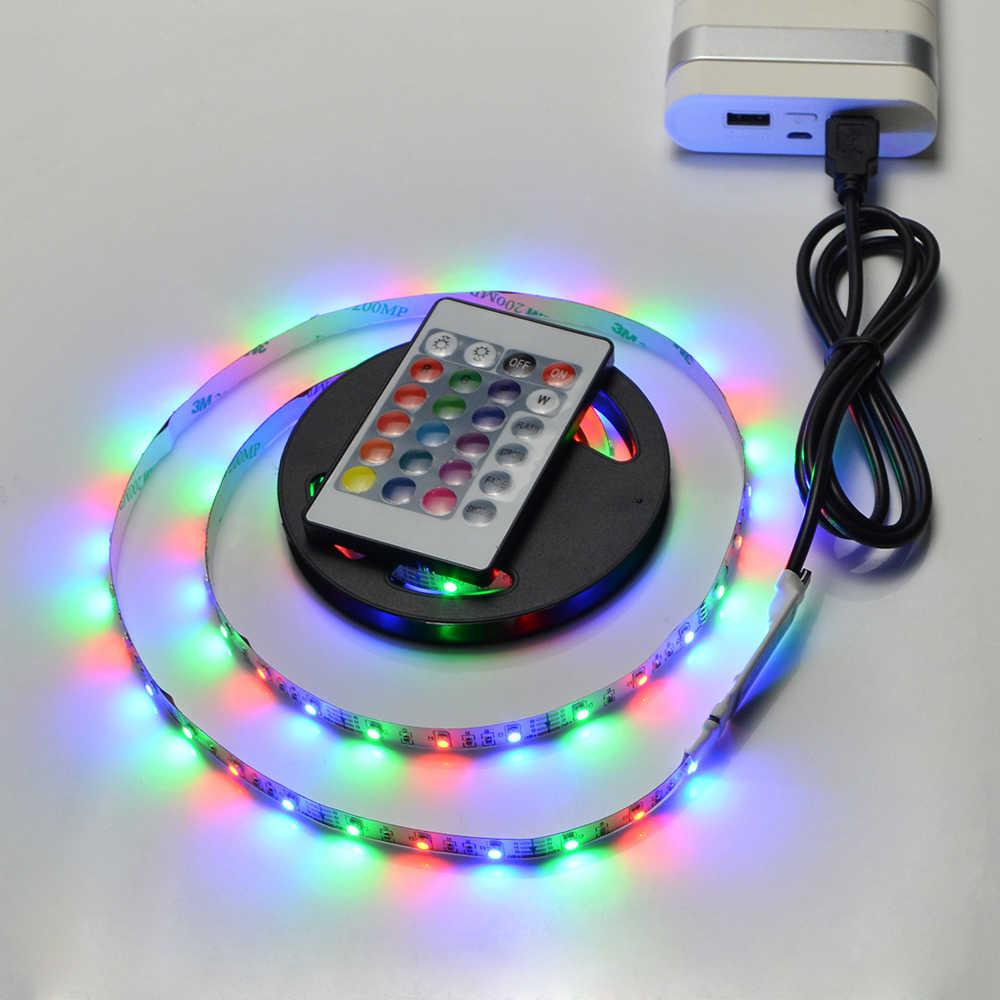 RGB света Светодиодные ленты 1 м-5 м DC5V USB Порты и разъёмы Мощность светодио дный лампы 60 светодио дный s/M светодио дный свет для ПК Экран Подсветка гардероб Кухня освещения