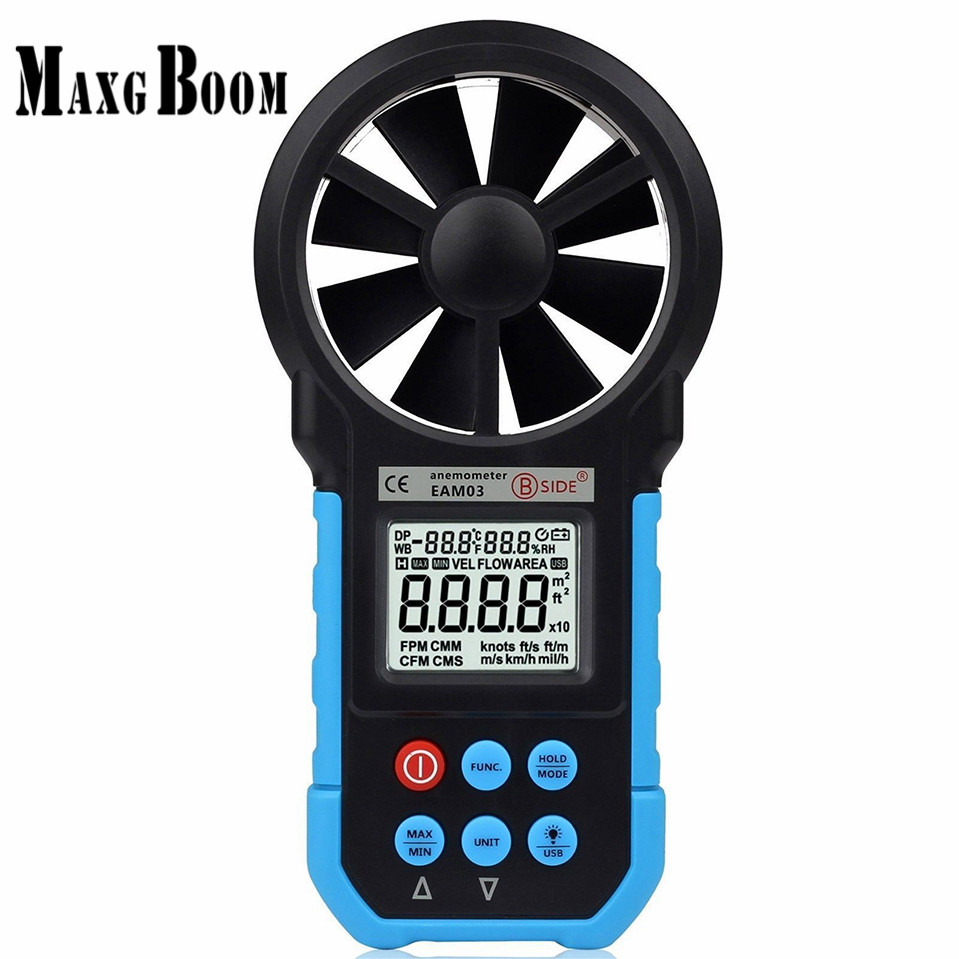 BSIDE EAM03 VS MS6252B Digital Anemometer Wind Speed Meter Anemometro Air Flow Temperature Humidity Tester & USB Real Time Data digital indoor air quality carbon dioxide meter temperature rh humidity twa stel display 99 points made in taiwan co2 monitor