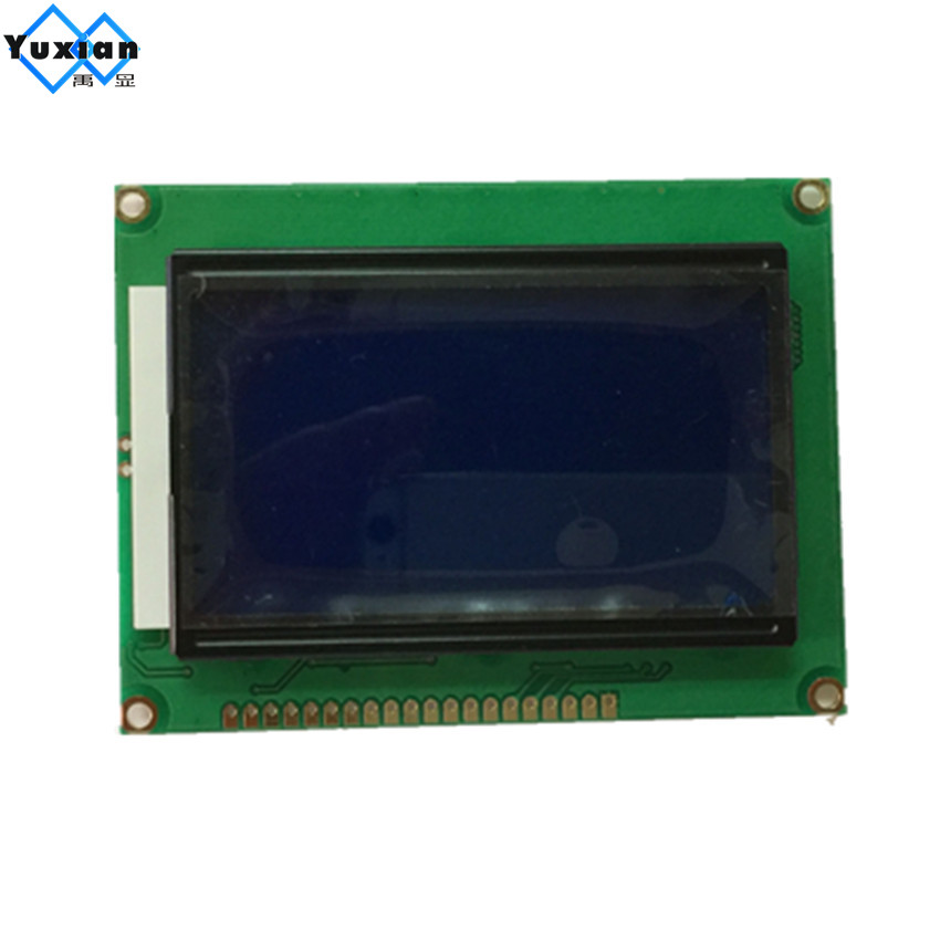 12864 128x64 lcd display STN blue screen ST7920 parallel and serial SPI blue 5V 90*73mm 12864B V2.0 free ship