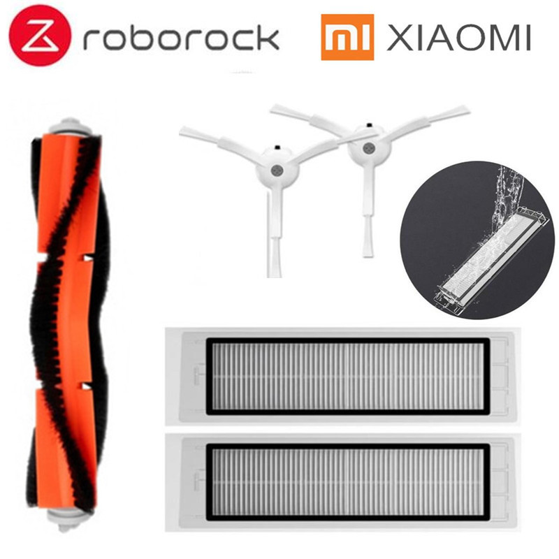 5pcs/lot Suitable for Xiaomi Mi Roborock Robot S Robot Vacuum Cleaner parts side brush X2PC, HEPA filter X2PC, main brush X1PC 3pcs hepa filter 2pcs side brush 1pcs main brush suitable for xiaomi mi robot vacuum cleaner parts accessories