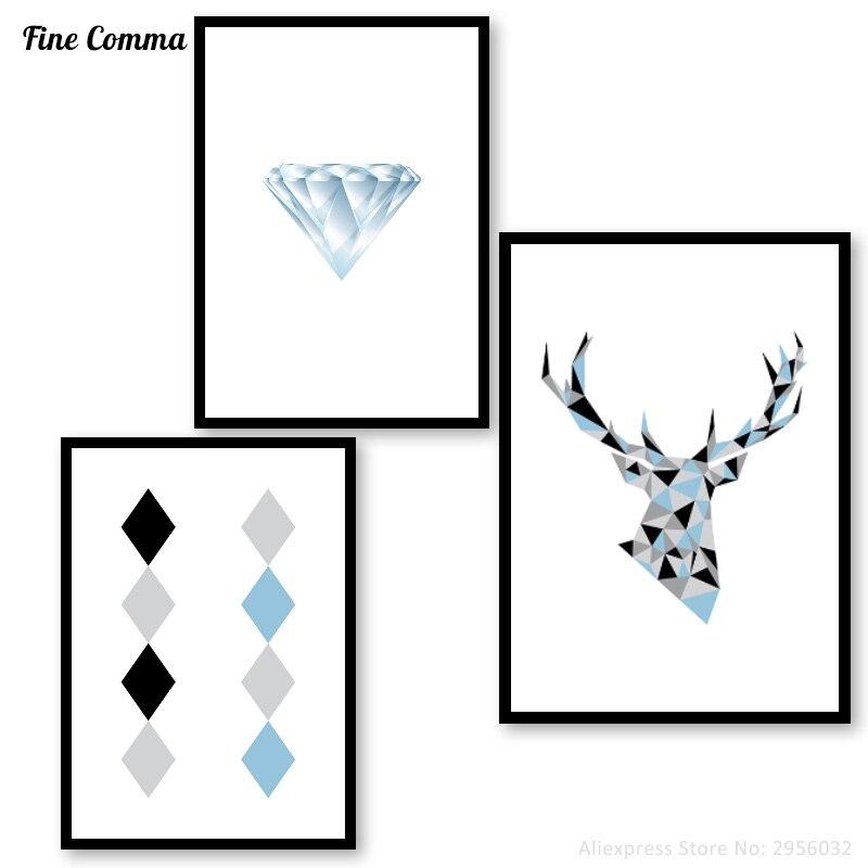 Geometric Purple Deer Wall Art Print Modern Poster Buck: Aliexpress.com : Buy Geometric Deer Diamond Art Print