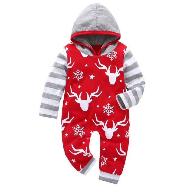 2017 New baby boy girl clothes set Long sleeve Hooded baby rompers Kids clothes Children Christmas clothing Newborn outfits