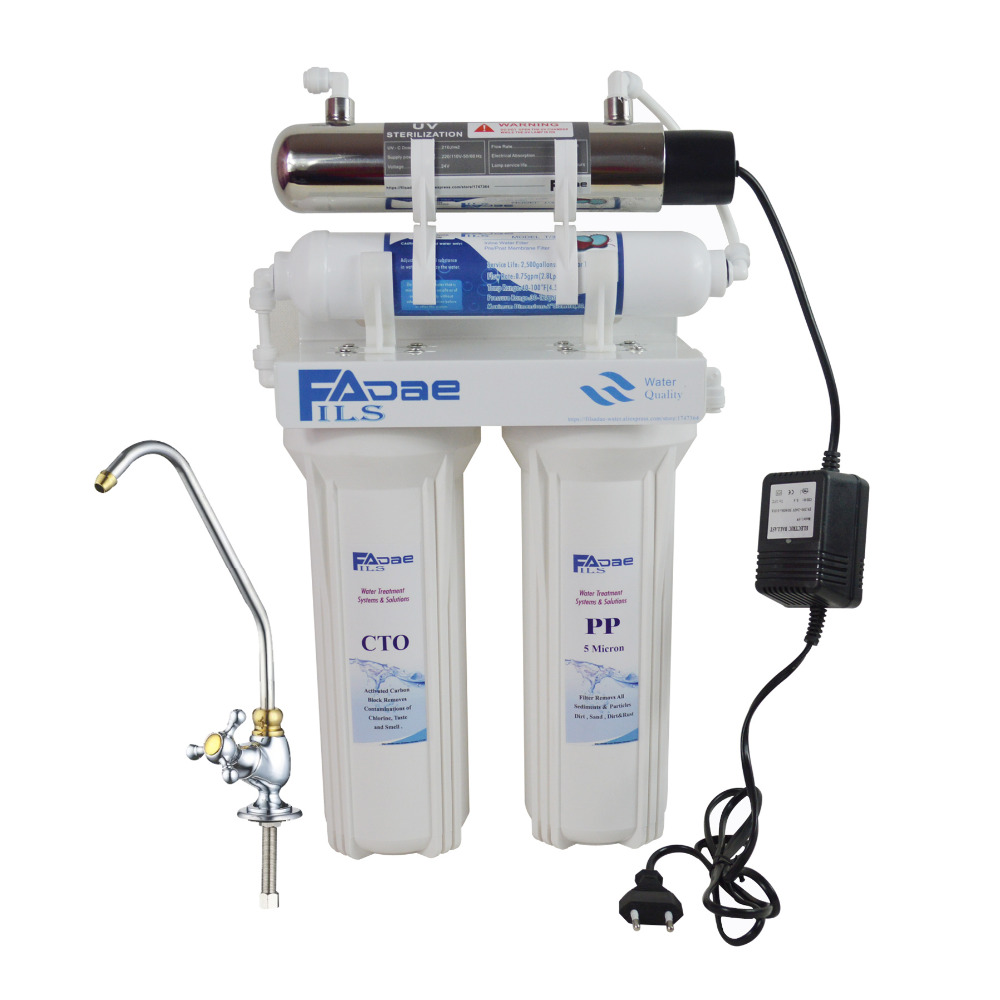 4-Stage Household Under Sink Drinking Water Filter with Ultraviolet Sterilizer for bacteria,Kitchen use ,Power Supply: 200-240 V high quality four stage undersink drinking water filter with 6w ultraviolet uv sterilizer for kitchen power supply 200 240v