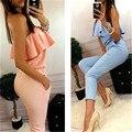Sexy Mujer Niñas Verano Partido Clubwear Playsuit Mono Mameluco Color Puro Pantalones Largos CA